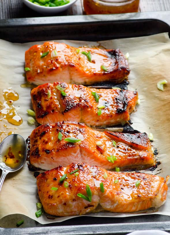 Thai Salmon Recipe with easy healthy sweet chili sauce oven baked in winter or grilled on cedar plank in summer. Read rave reader reviews yourself.