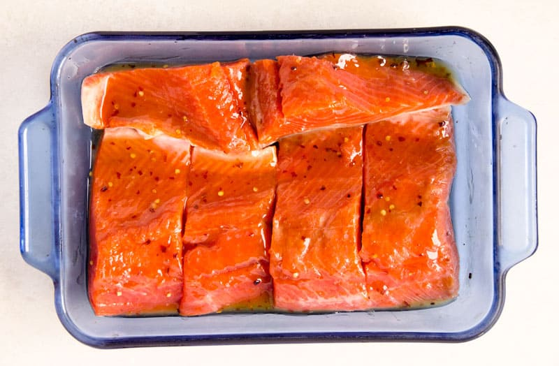 salmon fillets marinating in easy healthy sweet chili sauce