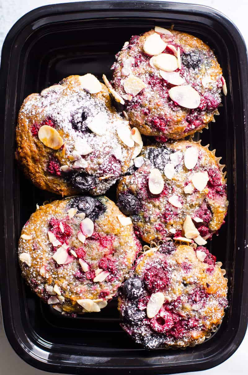 Easy and healthy Almond Muffins Recipe with ground almonds, whole wheat flour and fresh of frozen blueberry or cherry. They are gone in 1 day every time I bake them.