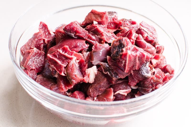 cut up venison in a bowl for Healthy Beef Stir Fry
