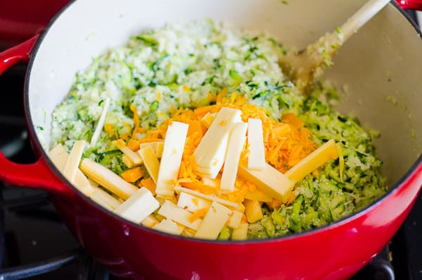 Cheesy Cauliflower Rice Recipe with riced cauliflower, garlic and shredded zucchini for an extra vegetable boost. | ifoodreal.com