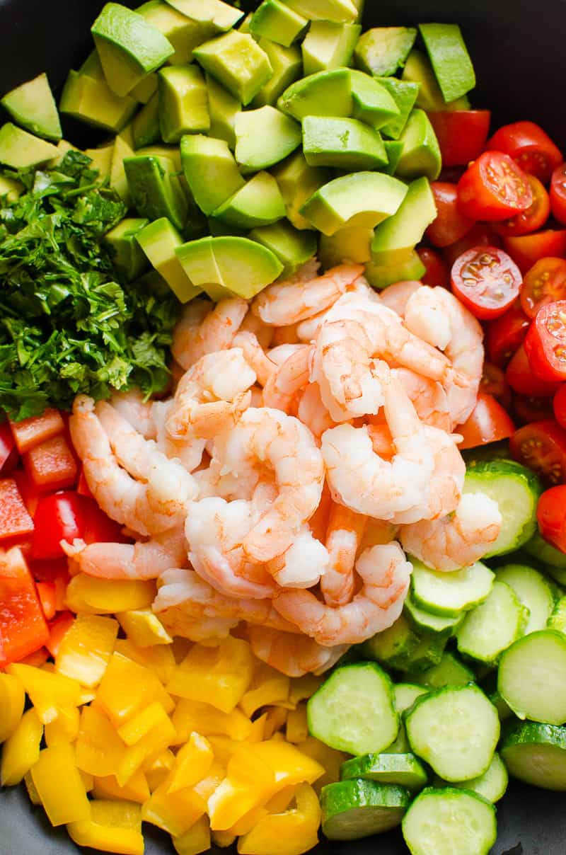 This cold and no cook healthy Shrimp Avocado Salad Recipe comes together in 15 minutes. Makes light summer dinner or perfect side year round.