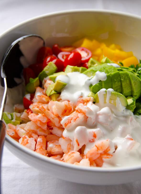 Shrimp Avocado Salad with tomato, cucumber, bell pepper and tasty, healthy and simple Greek Yogurt Dressing without mayo.