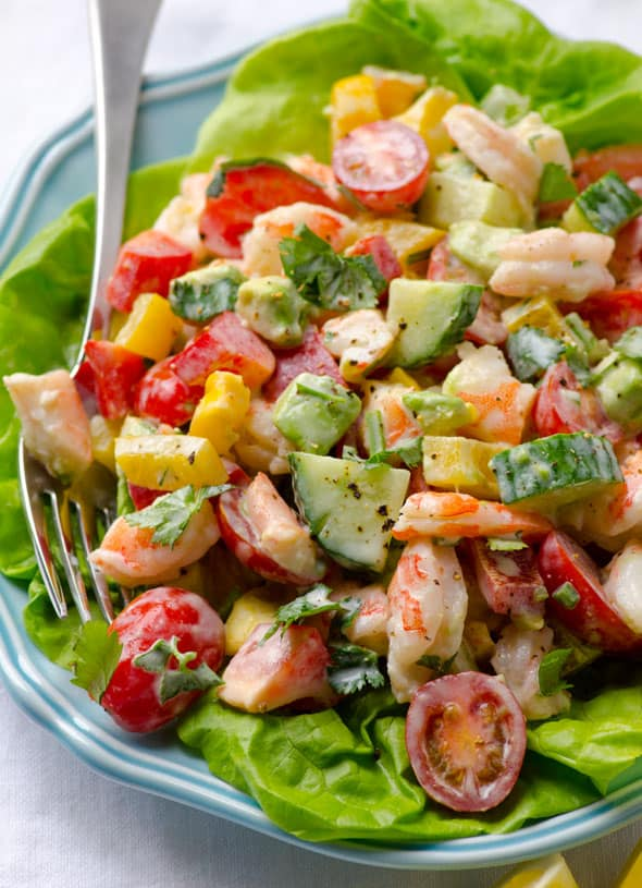 Shrimp Avocado Tomato Salad with cucumbers, bell peppers and tasty, healthy and simple Greek Yogurt Dressing without mayo.