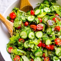 Lettuce Salad with Tomato and Cucumber