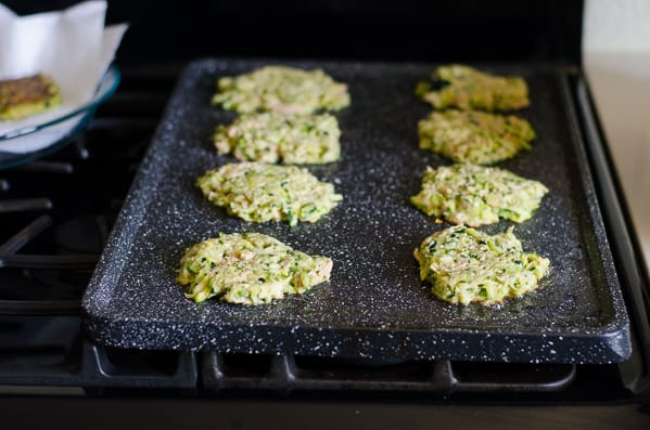 Cooking Tuna Zucchini Fritters on non stick griddle