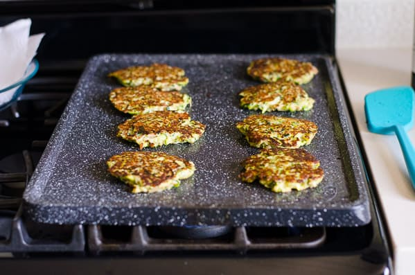 Cooked Tuna Zucchini Fritters on non stick griddle