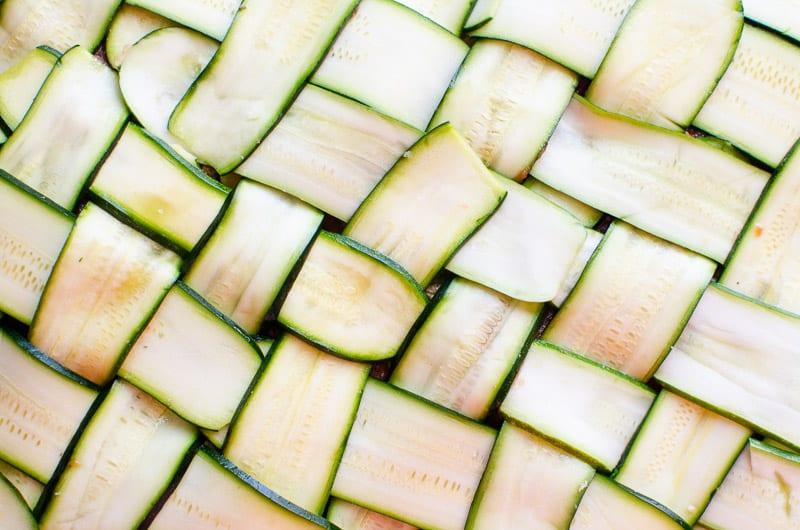 basket weaved zucchini slices