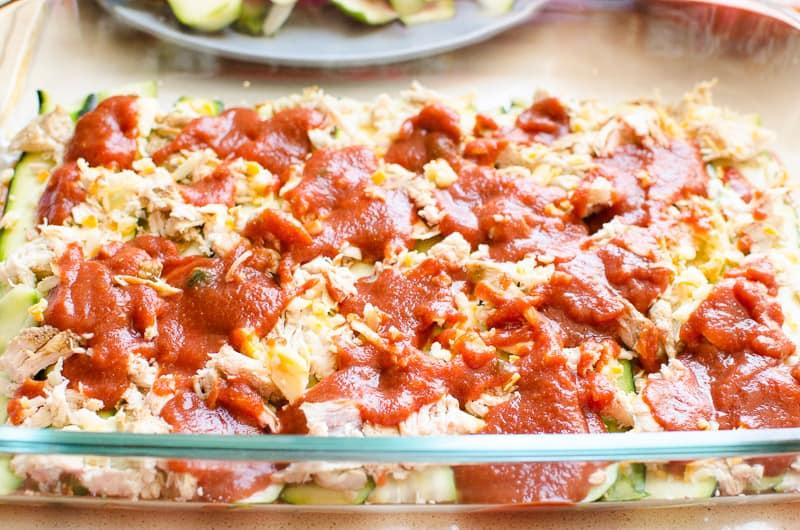 layered chicken, zucchini and tomato sauce