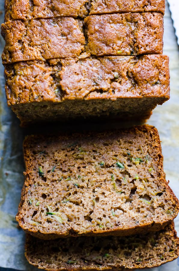 Healthy Zucchini Bread with applesauce sliced