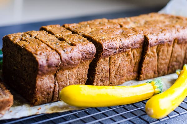 Healthy Zucchini Bread with applesauce, whole wheat or spelt flour and honey. Super delicious, easy and moist recipe; no oil or sugar. | ifoodreal.com