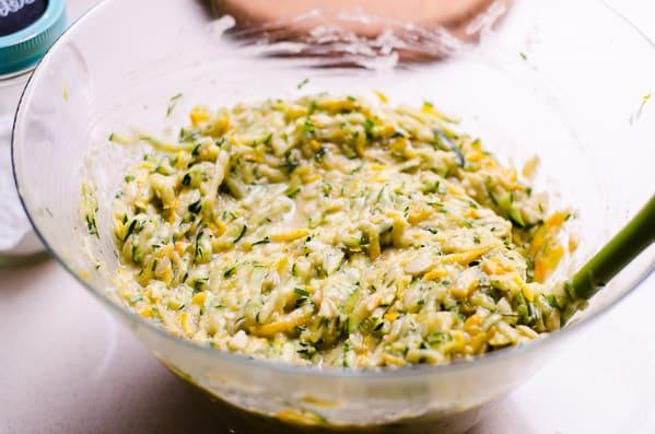 zucchini quiche in mixing bowl