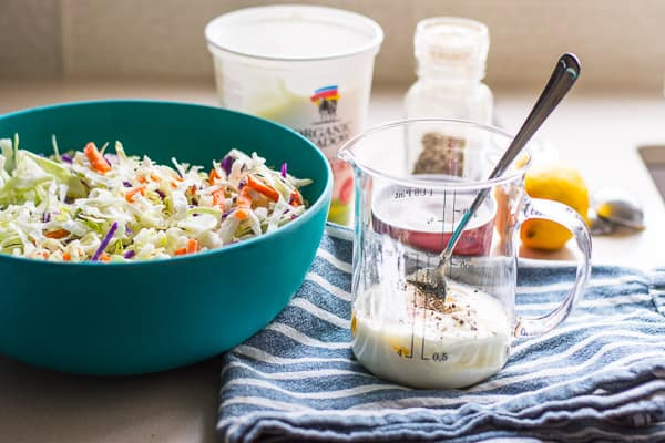 Healthy Coleslaw Recipe made with store bought coleslaw and homemade Greek yogurt dressing. Creamy, no mayo, easy and delicious. | ifoodreal.com
