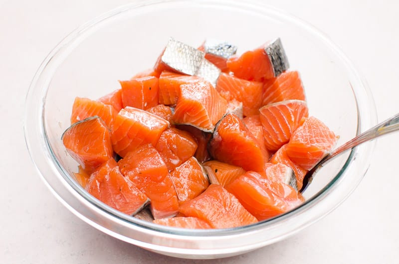 cut up salmon in a bowl
