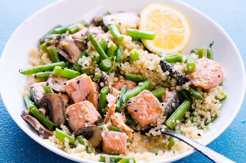 Salmon Stir Fry served with quinoa