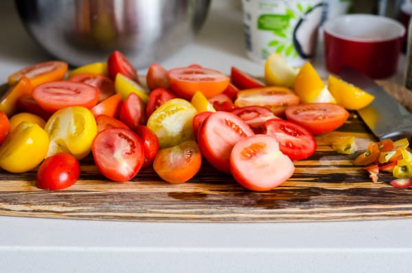 Tomato and Red Onion Salad Recipe with any ripe tomatoes, red onion, Greek yogurt and herbs for a simple, delicious and healthy summer salad. | ifoodreal.com