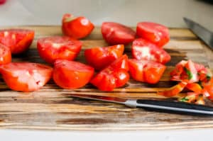 sliced in half tomatoes
