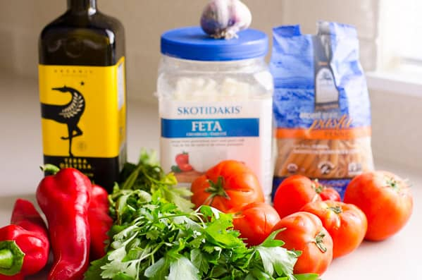 Tomato Pasta Salad ingredients