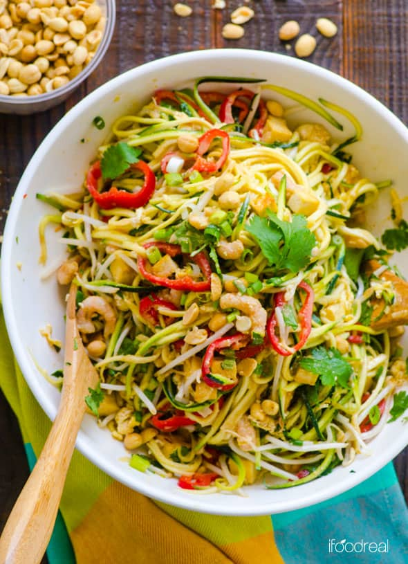 Pad Thai Zucchini Noodles Salad Recipe with zucchini pasta, healthy peanut sauce, shrimp or tofu and half amount of calories in under 20 minutes.