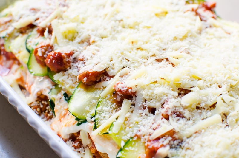Healthy low carb zucchini lasagna recipe with meat, cottage cheese and zucchini noodles. Tasty, not watery, rave reviews and easy to follow video recipe. Kids love it too!