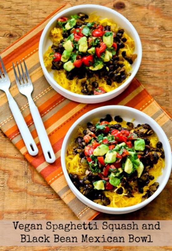 Vegan Spaghetti Squash Black Bean Mexican Bowl