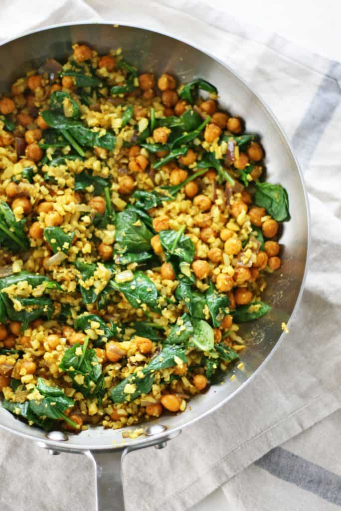 Curry Cauliflower Fried Rice in skillet