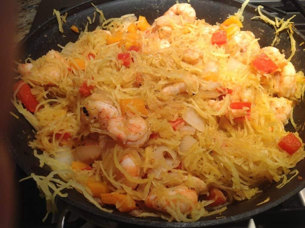 Spaghetti Squash Shrimp Stir Fry