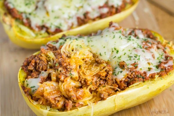 Baked Spaghetti Squash with Tomato Meat Sauce