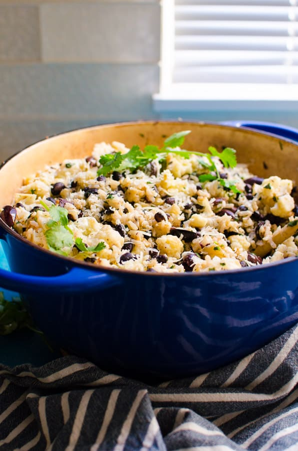 Black Beans and Brown Rice Recipe made simple and healthy with cauliflower, olives and Parmesan cheese on a stovetop in 30 minutes. | ifoodreal.com