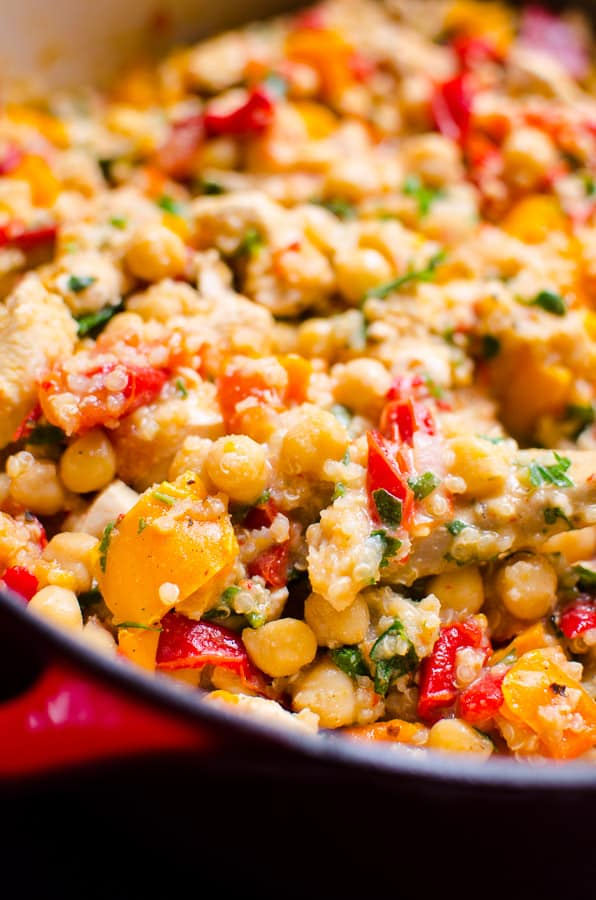 Chicken Chickpea Stew Recipe is healthy 30 minute meal with chicken breast, pepper, tomato, quinoa and canned chickpeas. Kids love and lots of leftovers. | ifoodreal.com