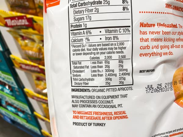 Dried apricots nutrition label