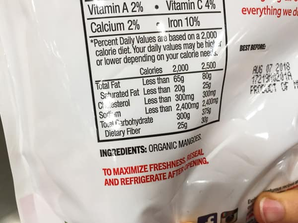 dried mango nutrition label