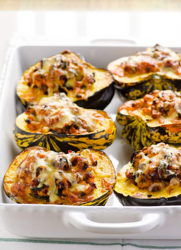 Turkey Stuffed Acorn Squash Recipe with ground turkey meat and spinach, plus how to cut an acorn squash in half without losing a finger. | ifoodreal.com