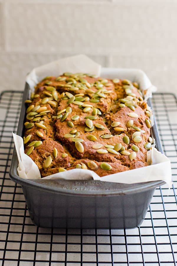 Healthy Pumpkin Bread Recipe with canned pumpkin, applesauce, whole wheat flour, maple syrup and no sugar. Easy, moist and delicious.