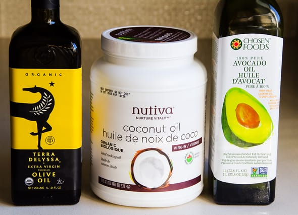 olive oil, coconut oil, avocado oil
