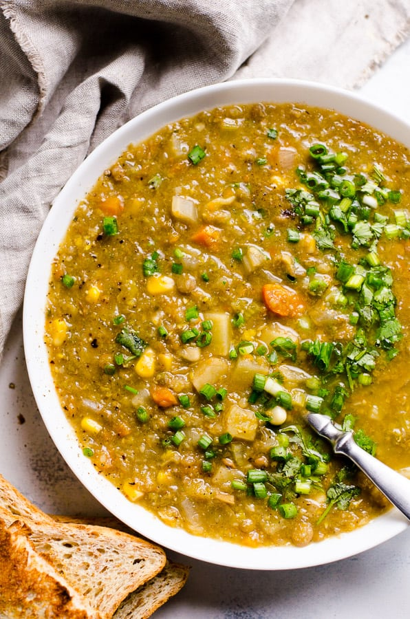 Slow Cooker Vegetarian Lentil Soup is best lentil soup recipe with hearty texture and umami flavour, just add all ingredients to a crock pot. | ifoodreal.com
