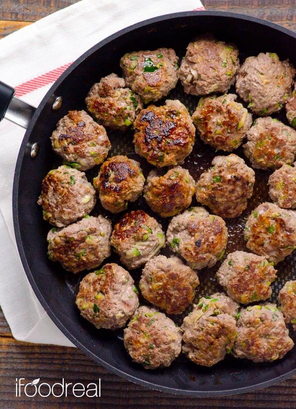 Thai Meatballs on skillet