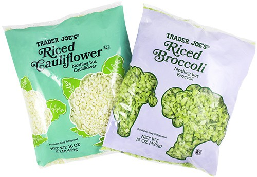 Tader Joe's bags of rice cauliflower and riced broccoli