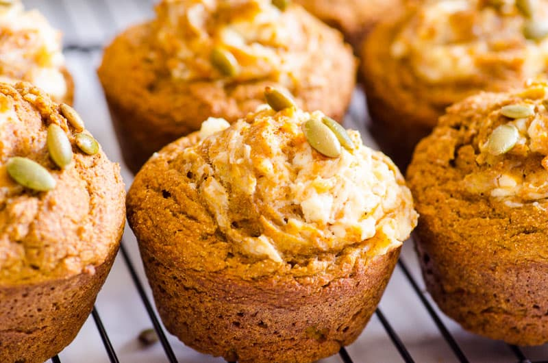 Healthy Pumpkin Muffins with cream cheese and pepitas