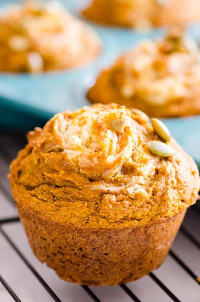 healthy pumpkin muffin with muffins in baking tin