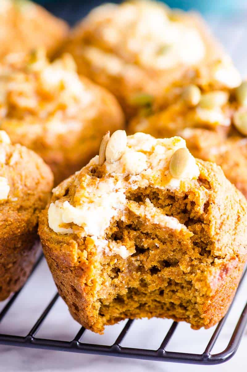 Healthy Pumpkin Muffins with bite