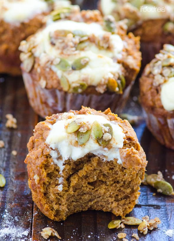 Healthy Pumpkin Muffins Recipe with cream cheese and whole wheat flour. Twice less sugar and fat, and 3 times more fiber than Starbucks muffins.