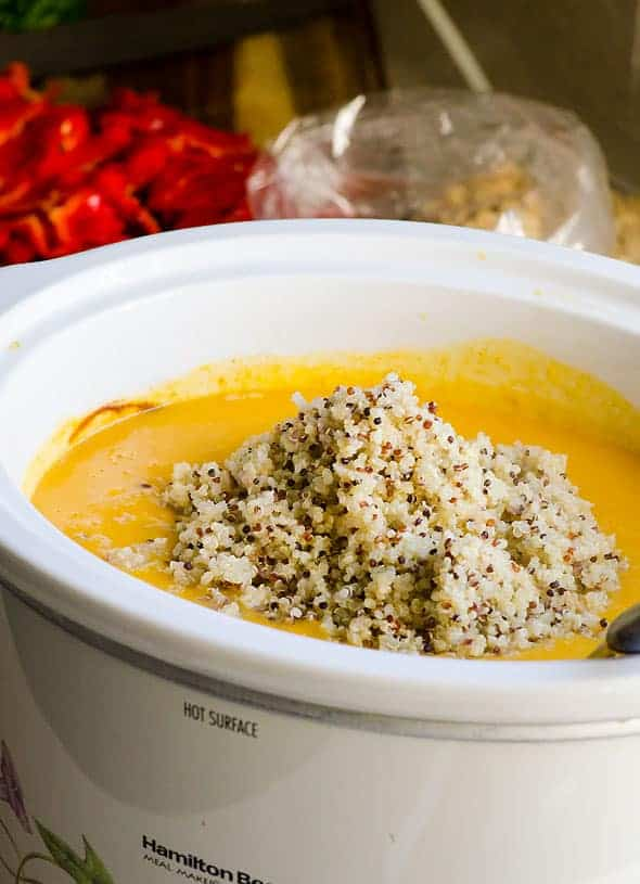 Healthy and Hearty Slow Cooker Butternut Squash Soup Recipe with coconut milk and Thai flavours made in a crockpot. It will clean out your fridge and pantry too!