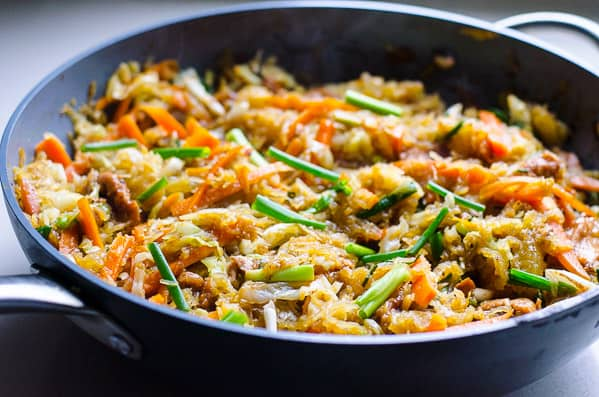 Spaghetti Squash Chow Mein is a healthy Chinese takeout recipe with spaghetti squash noodles, homemade oyster sauce, chicken or beef, and chockfull of vegetables. | ifoodreal.com