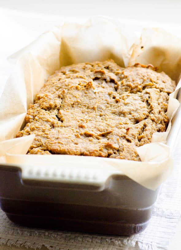 Coconut Flour Banana Bread is naturally sweetened gluten free quick bread with peanut butter. Very simple recipe, no funky ingredients.