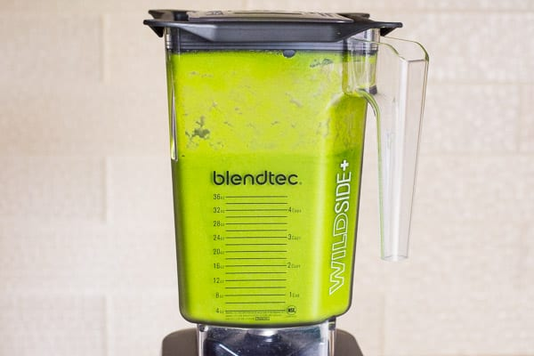 green smoothie in blendtec blender