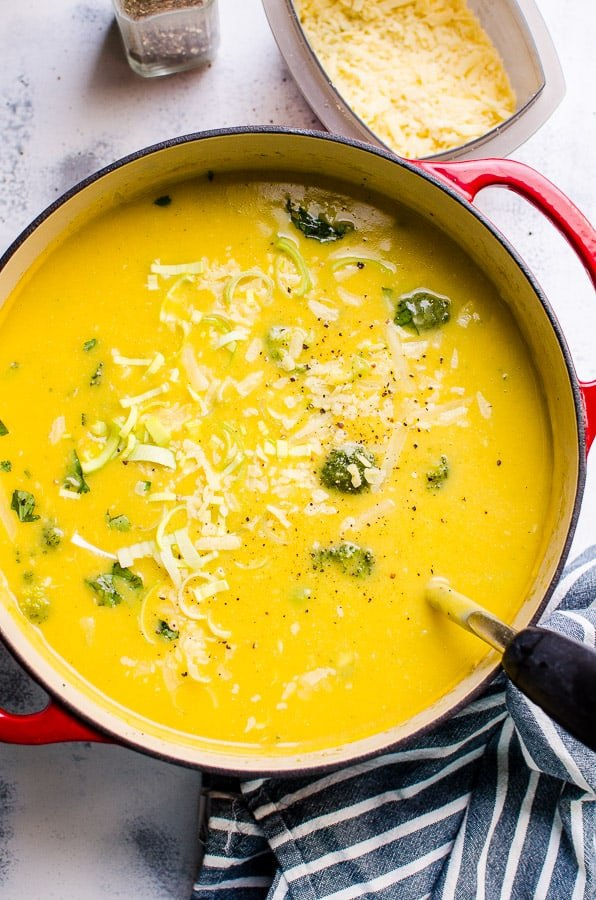 Healthy Broccoli Cheese Soup is same easy, creamy and comforting ultimate recipe using whole foods and a small amount of real cheese. No flour or heavy cream. | ifoodreal.com