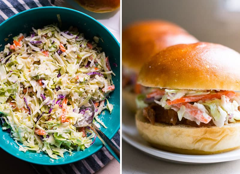 coleslaw in bowl and assembled pulled pork sandwich on a bun with coleslaw