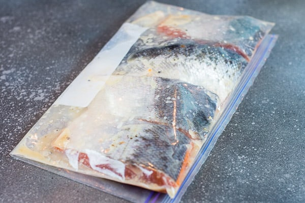 honey garlic salmon in marinade in Ziploc bag