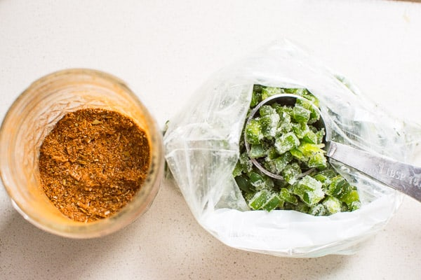 jar of spices; bag of frozen jalapenos